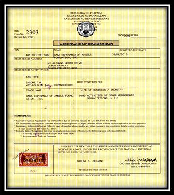 CEA Certificate of Registration - BIR