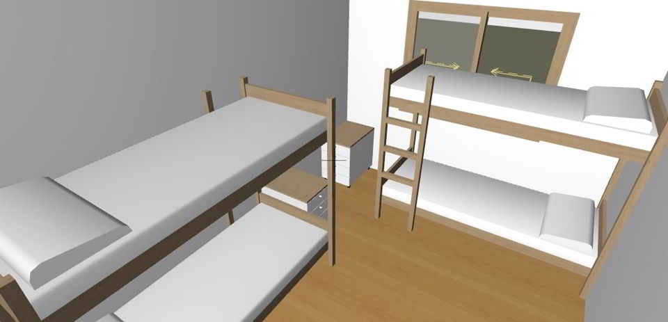 Children's bedroom design at the CEA facility.