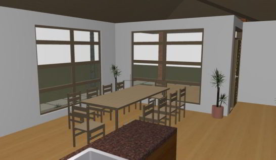 Dining area at the family house.