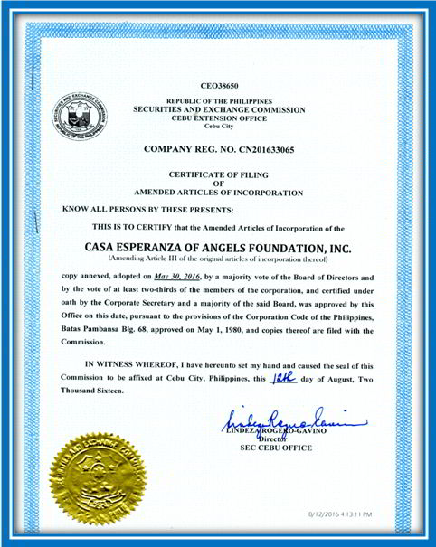 New Security and Exchange Commission (SEC) certificate for CEA