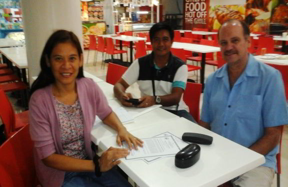 Ron and Gigi Brown with Bro. Elmer Palacio in Cebu City.