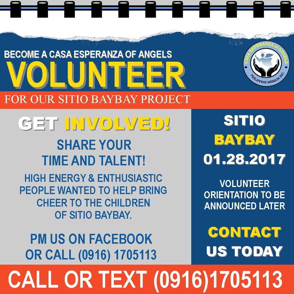 Sitio Baybay outreach project volunteer poster