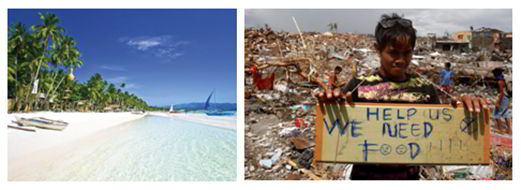 Beautiful beach compared to typhoon-ravaged areas in the Philippines.