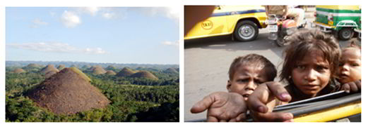 Chocolate Hills of Bohol and destitute street children in Cebu.