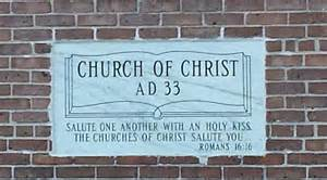 Church of Christ tablet on the wall