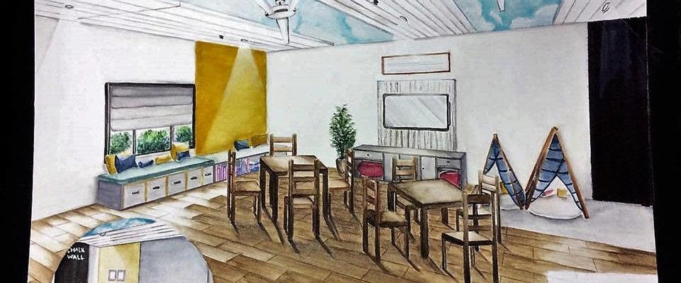 Social room sketch at CEA orphanage by Christine Roldan